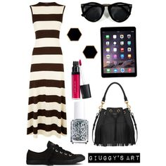 Black Strips by giuggysart on Polyvore featuring polyvore, moda, style, Polo Ralph Lauren, Converse, Yves Saint Laurent, Janna Conner Designs, Laura Geller and Essie