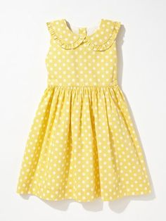 Rachel Riley Polka Dot Dress via Gilts. Use fancy dress pattern and add ruffles to the collar. Little Dresses, Little Girl Dresses, Girls Dresses, Summer Dresses, Cute Outfits For Kids, Toddler Outfits, Girl Outfits, Cute Kids Clothes, Frocks For Girls