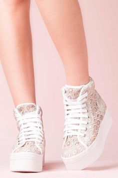 JEFFREY CAMPBELL SNEAKERS - HOMG LACE WHITE GREY