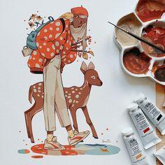 Art And Illustration, Character Illustration, Pretty Art, Cute Art, Gouache, Art Sketches, Art Drawings, Pop Art Colors, Mushroom Art