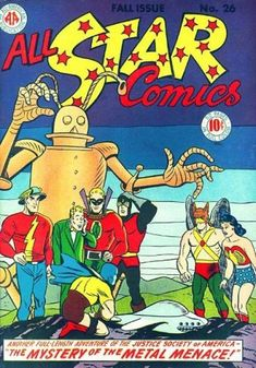 "All-Star Comics The Justice Society of America battle robots from outer space in ""Vampires of the Void! Dc Comics Heroes, Star Comics, Dc Comics Art, Vintage Comic Books, Vintage Comics, Comic Books Art, Book Art, All Star, Pulp Fiction Comics"