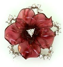 NOLAN MILLER MOLDED CELLULOID PLASTIC CRANBERRY RHINESTONE FLOWER PIN BROOCH