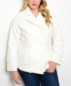 Another great find on #zulily! Ivory Double-Breasted Jacket - Plus by Curvy Lily #zulilyfinds