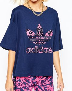 Image 2 ofadidas Oversized Cropped T-Shirt With Baroque Ornament Trefoil Print