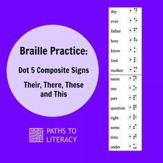 Braille lessons to practice reading and writing Dot 5 Composite Signs in UEB (Unified English Braille) Teaching Career, Teaching Tools, Braille Reader, Prek Literacy, Early Literacy, Braille Alphabet, We Are Teachers, Visual Impairment, New Students