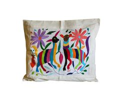mexican textile pillow cover handmade horse by mexicanhandwoven