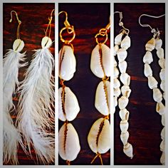Inspired by white shells & feathers for summer Tassel Necklace, Feathers, Tassels, Shells, Jewellery, Drop Earrings, Inspired, Summer, Inspiration