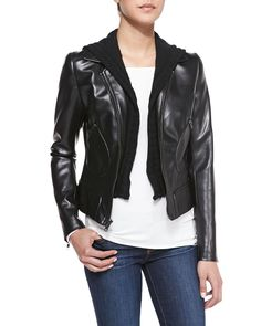 Jib Knit/Faux-Leather Moto Jacket by Bailey 44 at Neiman Marcus.