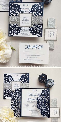 This Navy Laser Cut Wrap is held together with a Silver Shimmery Belly Band and finished with a personalized Tag. The classic styled invitation (with a modern twist to the layout) is an invitation that your guests are sure to remember for years to come.