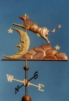 This Cow Jumping Over the Moon Weather Vane is part of our Storybook series. It is handcrafted from copper with gold leafing - design customized upon ordering.