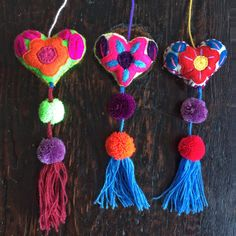 Felt Embroidered Hearts With Pompoms and Tassels