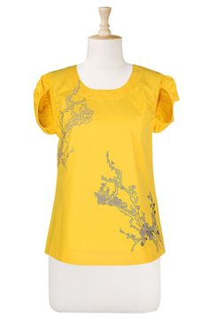 Cherry blossoms embroidered top  STYLE # CL0020110_OS  $26.95  Color: Sunset gold yellow    Khaki tones outline the floral embroidery on the front of a woven scoop-neck top, styled with ruched cap sleeves.        Low hip length.      Cotton poplin; machine wash.