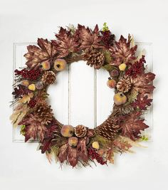 Blooming Autumn 26'' Pome Pinecone Foxtail Twig & Maple Leaves Wreath