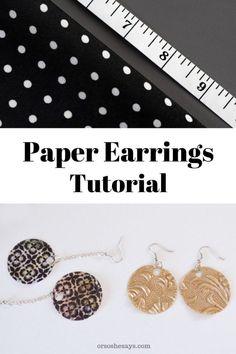 Scrapbook Paper Earring Tutorial (she: Allison M.) Paper earring tutorial on www. Jewelry Clasps, Diy Jewelry, Beaded Jewelry, Handmade Jewelry, Jewelry Making, Jewelry Ideas, Jewelry Tools, Enamel Jewelry, Paper Earrings