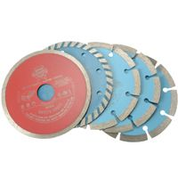 Faithfull 5 Piece Diamond Blade Set    3x Segmented blades.  1x Continuous rim blade for tiles.  1x Turbo blade for fast, smooth, chip free cutting.  Premium quality discs for fast and accurate cutting. Suitable for all makes of angle grinder.