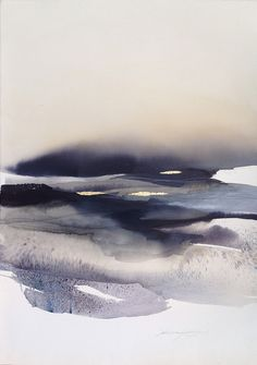 """yama-bato: """" Sabrina Garrasi """"Over the Clouds""""Watercolor, ink, Pigment, Gouache and Gold Leaf on Fine Art Cotton Paper.Size: in x in cm x 77 cm) """" Watercolor Landscape, Abstract Landscape, Landscape Paintings, Watercolor Paintings, Abstract Art, Watercolours, Gouache Painting, Water Color Abstract, Oil Paintings"""