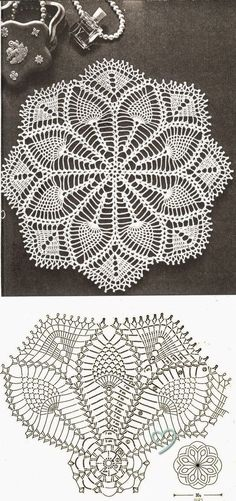 Resultado de imagen para crochet doily in pineapple pattern Filet Crochet, Crochet Doily Diagram, Crochet Doily Patterns, Crochet Mandala, Crochet Chart, Thread Crochet, Crochet Motif, Crochet Designs, Crochet Coaster
