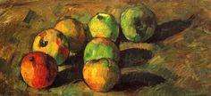 """Paul Cézanne, nature morte aux 7 pommes, 1872 """"Nature morte aux sept pommes"""" vers 1877-1878. Cette étude de la décomposition de la couleur en tons juxtaposés sur des pommes est un exemple remarquable de l'art de Cézanne qui combine savoir-faire technique et symbole moral, la pomme étant le signe de l'amitié, de la générosité et de l'humanité."""