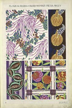 Floréal dessins & coloris nouveaux by EA Seguy. [Four plant form designs.] Plate 11
