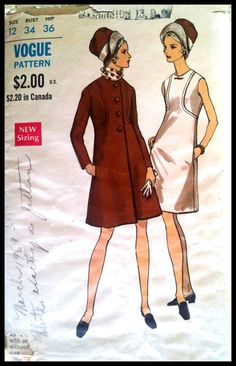 Vogue 7286  Misses' Coat and One Piece Dress  by ThePatternShopp, $30.00