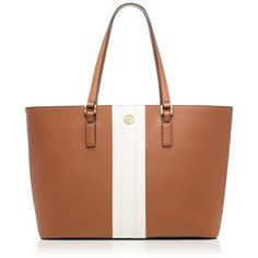 Tory Burch Robinson Striped Tote Bag ($550) ❤ liked on Polyvore featuring bags, handbags, tote bags, bark stripe, leather laptop tote, leather tote, laptop tote, brown tote bag and leather hand bags