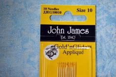 Gold'n Glide applique sewing needles, Gold Eye, easy glide coating, size 10, John James, 10 needles per pack by TheQuiltedCheese on Etsy