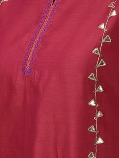 Pink Round Neck Chanderi Kurta with Gota Patti Border Embroidery Designs, Kurti Embroidery Design, Bead Embroidery Patterns, Beaded Embroidery, Embroidery On Kurtis, Hand Embroidery Dress, Hand Embroidery Videos, Kurta Patterns, Dress Patterns