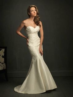 Allure Bridals: Style: 8722 LOVE the touch of lace AND ruched sweetheart neckline!