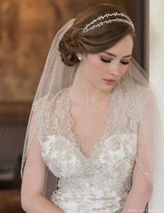 6661 Double row headband of rhinestones ***Available for order at A Curvy Bride***