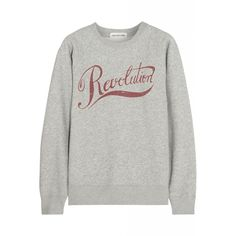Rosie Huntington-Whiteley wearing Etoile Isabel Marant Revolution Printed Cotton-Blend Sweatshirt.