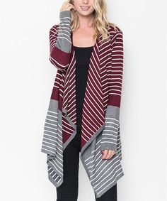 Another great find on #zulily! Burgundy & Charcoal Stripe Drape Cardigan #zulilyfinds