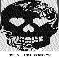 Swirl Skull with Heart Eyes C2C Blanket