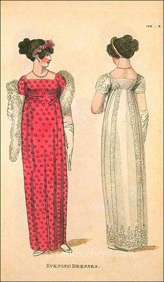 Fashions of London and Paris, Evening Dresses, December 1807 - Regency Dress, Regency Era, 1800s Fashion, Vintage Fashion, London 1800, White Satin Dress, Muslin Dress, Empire, Ball Dresses