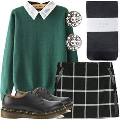 Gwen Stacy Casual Outfit by lauloxx on Polyvore featuring MANGO, Hobbs, Dr. Martens, Wet Seal, Spring, Fall, casual and GwenStacy