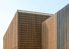 Swiss school fronted by vertical larch battens.