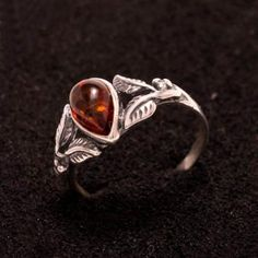 High Quality Baltic Amber And Silver Jewelry - Stylish Flower Form Ring. $32.99