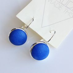 Blue lever back earrings blue and silver lever by ClaudiaMadeThis