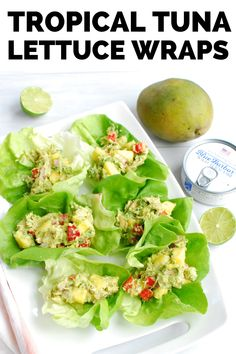 If you need a no cook meal this summer, try these tropical tuna lettuce wraps!  It's an easy dinner and a great canned tuna recipe that the whole family will love.  (sponsored) #tuna #lettucewrap #blueharborfishco Canned Tuna Recipes, Aldi Recipes, Fish Recipes, Seafood Recipes, Tuna Lettuce Wraps, Healthy Summer Recipes, Healthy Wraps, Tzatziki Recipes, Healthiest Seafood