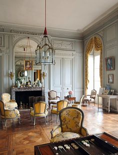 French Chateau--Grey And Yellow Broche Silk/ Furniture suites in Louis XV era style