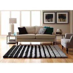 Spaces Home by Welspun Teddy Shag Area Rug, Multiple Colors, Black