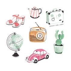 Illustrations for Viva magazine (NL) by Sanny van Loon | clogs | vintage car | cactus | globe | radio | suitcase | teapot www.sannyvanloon.com