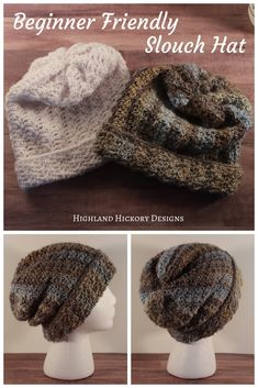 Crochet Beanie Design Casual Friday Slouch - Highland Hickory Designs - Free Crochet Pattern - Crochet the Casual Friday Slouch hat with this free easy pattern. Crochet Scarf Easy, Crochet Socks, Crochet Beanie, Crochet Stitches, Free Crochet, Irish Crochet, Beginner Crochet Hat, Crochet 101, Knitting Patterns Free