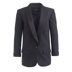 J.Crew Collection Shawl-Collar Tuxedo Blazer. Look better than him in black tie. Our sleek shawl-collar blazer is slightly oversize with authentic tuxedo details and finished with a slim tie at the waist, which can be tied in the front or back (depending on your mood).