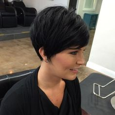 Long pixie haircut with side bangs