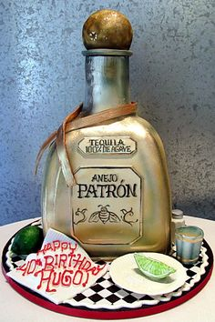 Patron Bottle~  Cake as a bottle of Patron tequila. All edible, including the lime, salt & shot glass