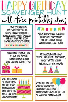 This birthday scavenger hunt is one of the most fun birthday ideas for kids or for adults! And with tons of free printable clues and riddles, you can add gifts all along the way! It's the perfect surprise for girls, boys, and any age! ideas for birthday Traditions D'anniversaire, Birthday Traditions, Scavenger Hunt Birthday, Scavenger Hunt For Kids, Scavenger Hunt Riddles, Treasure Hunt Birthday, Photo Scavenger Hunt, Birthday Party Games For Kids, Birthday Party Themes