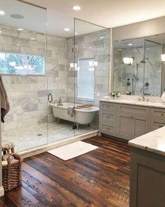Stunning Master Bathroom Remodel Ideas – Home Design Dream Bathrooms, Beautiful Bathrooms, Modern Bathroom, Master Bathrooms, Small Bathrooms, Narrow Bathroom, White Bathroom, Peach Bathroom, Master Baths