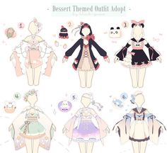 [CLOSED] Dessert Themed Outfit Adopts | Auction by Black-Quose