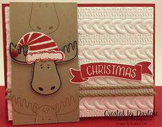 "Stampin' Up! Handmade Christmas Card ""Jolly Friends"" Super Adorable Moose Jingle…"