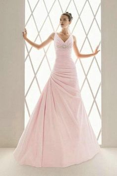 Taffeta V-neck A-line Gown with Beaded Embellishment Style - Bridal Gowns - goodcheapweddingdress Pink Wedding Gowns, Colored Wedding Dresses, Dream Wedding Dresses, Bridal Gowns, Lace Wedding, Prom Dresses, Rosa Style, Mode Rose, A Line Gown